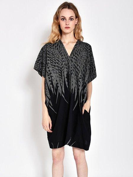 Uzi NYC Oversized V Dress - Black Feather