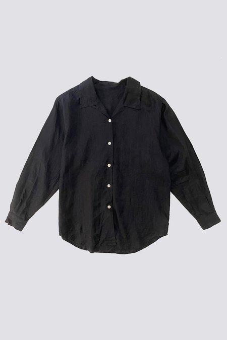 Vintage Linen Pearl Buttons Shirt - black