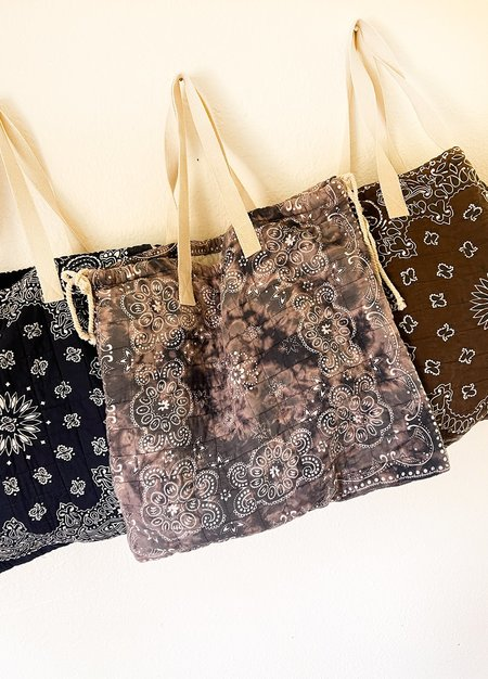 Quiltey Quilted Bandana Tote - Blue/Gray/Brown