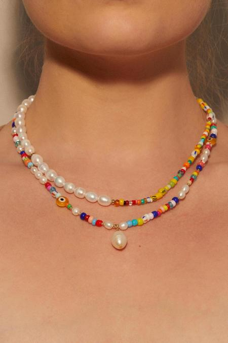 Petit Moments Beaded Pearl Drop Necklace - Multicolor