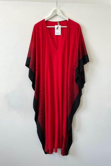 Two New York Long V-Neck Caftan dress - Red