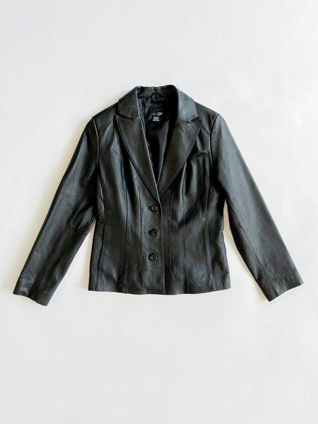 Vintage Leather Blazer Jacket - black