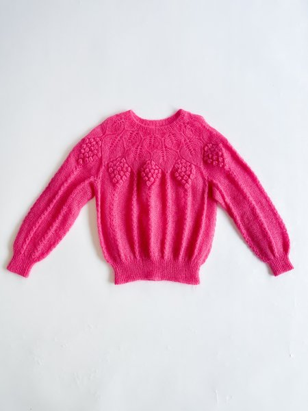 Vintage Knit Grape Mohair Sweater - Pink