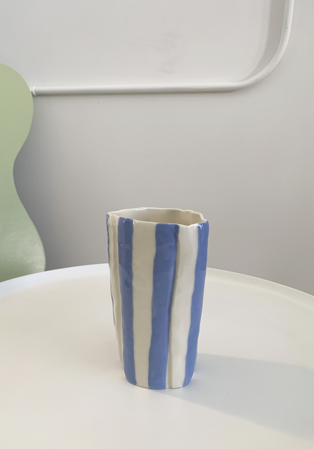 Isabel Halley Striped Water Cup - Pale Blue/Red