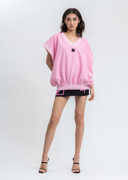 we11done Neon Metal Logo Oversize Vest - Pink