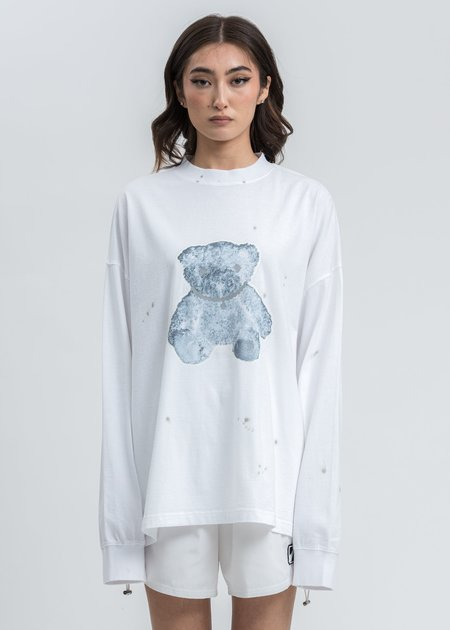 we11done Pearl Necklace Teddy Long Sleeve - White