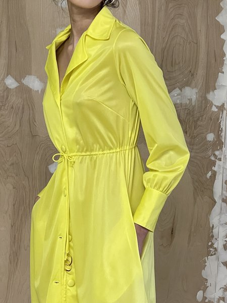 Vintage Nylon Drawstring Dress - Yellow