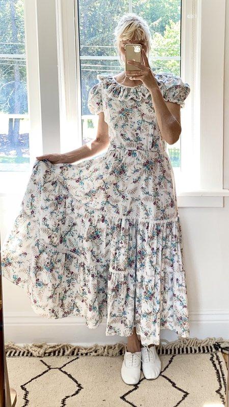 Vintage 1940's Cotton Dress with Lace - Garden Print