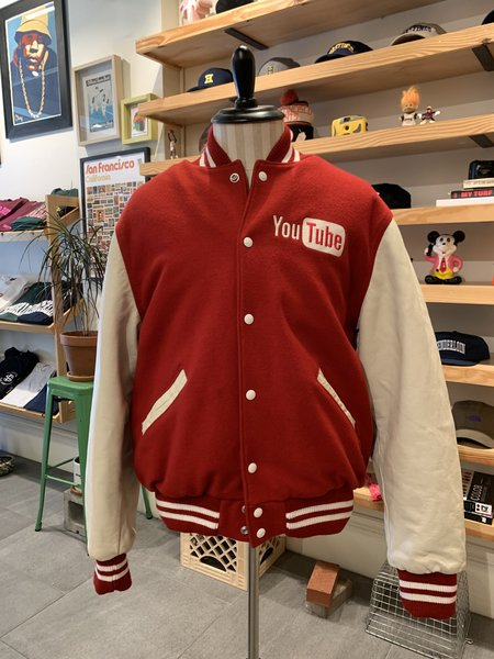 Vintage Tilted Brim Varsity Jacket - Red/White