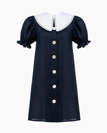 Sleeper Marie Linen Collared Dress - Navy