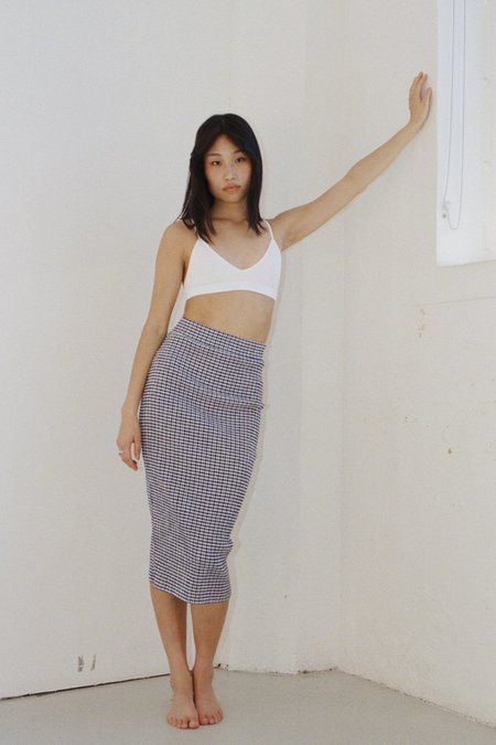 permanent vacation Ritual Tube Skirt - Navy Gingham