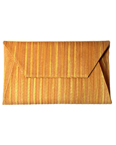 Oliveve cleo envelope clutch in marigold woven cow leather