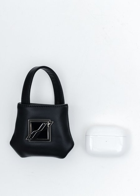 we11done Leather Mini Airpods Bag - Black