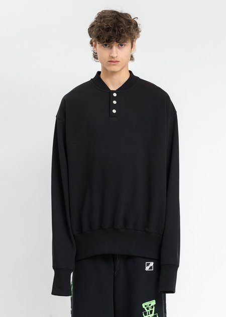 we11done Logo Embroidered Henley Sweater - Black