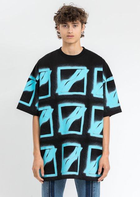 we11done Neon Blue Logo T-Shirt - Black