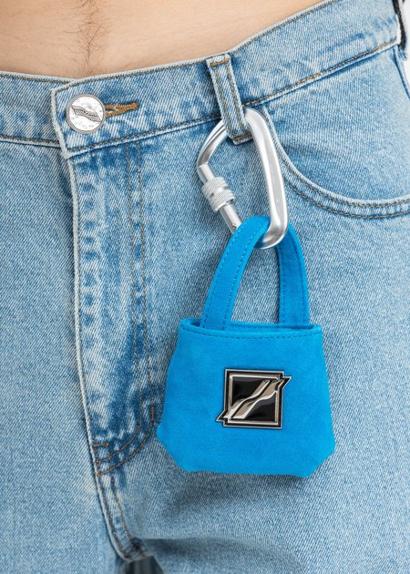we11done Leather Mini Airpods Bag - Blue