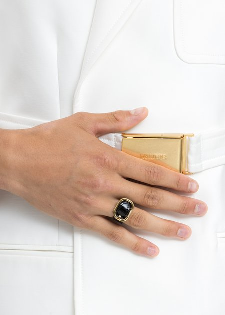 we11done Mini Logo Buckle Ring - Gold Patent