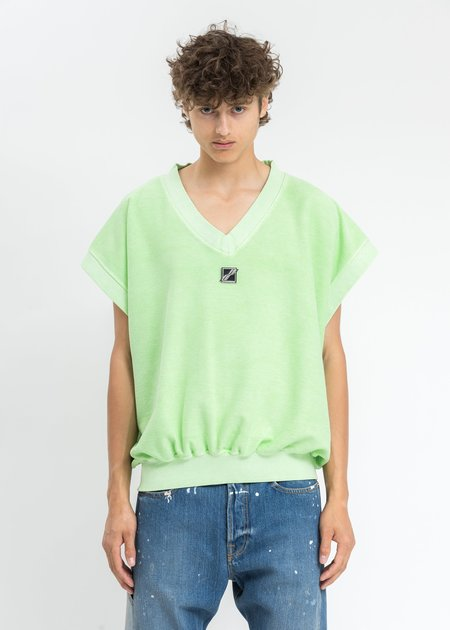 we11done Metal Logo Oversize Vest - Neon Green