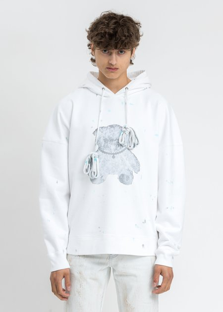 We11done Pearl Necklace Teddy Hoodie Reflect - White