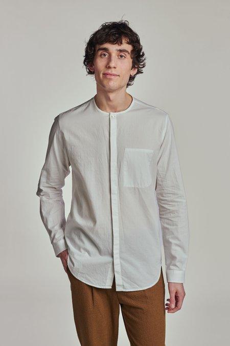 Delikatessen Harmony Collarless Shirt - Off-White Japanese Vintage Poplin