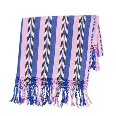 Archive New York Palm Ikat Pillow - Blue/Pink