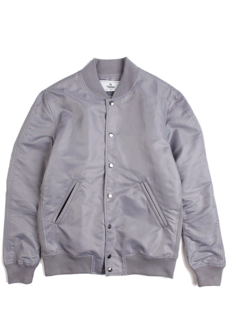 Reigning Champ Woven Light Weight Satin Stadium Jacket Grey