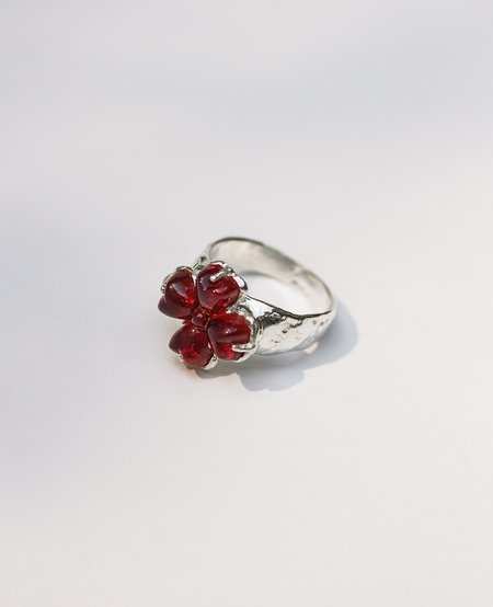 [Pre-Loved] Ora-C Fat Luck Silver Ring - Red