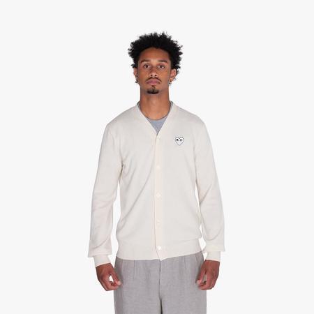Comme des Garçons PLAY White Heart Cardigan - Natural