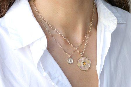 Marlo Laz Large Porte Bonheur Enamel Coin Necklace - 14k Yellow Gold