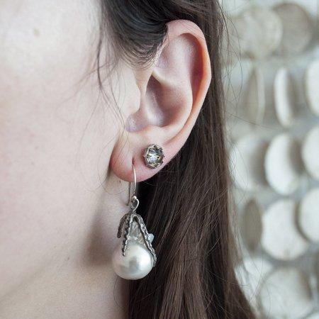 Lauren Wolf White Pearl Drop Earrings - silver