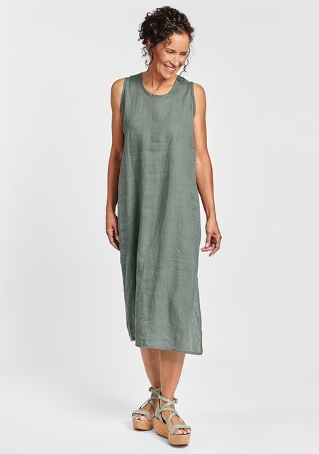 Flax Sideslit Slipster-Linen Maxi Dress