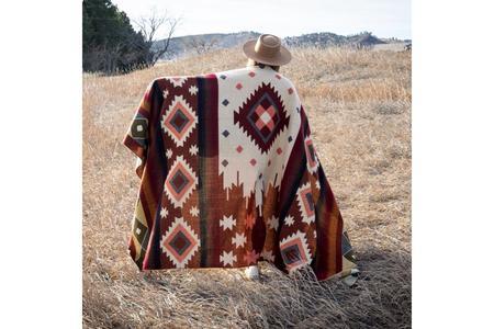 Andean Alpaca Wool Blanket - Western Rust