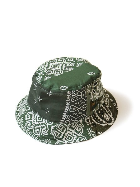 Kapital Short Brim Bandana Patchwork Bucket Hat - Khaki