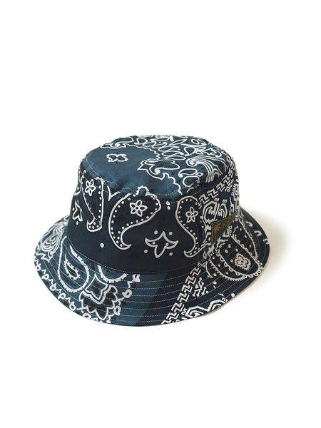 Kapital Short Brim Bandana Patchwork Bucket Hat - Purple/Navy