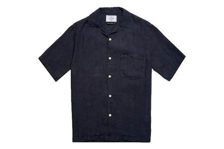 Portuguese Flannel Linen Camp Collar Shirt - Navy