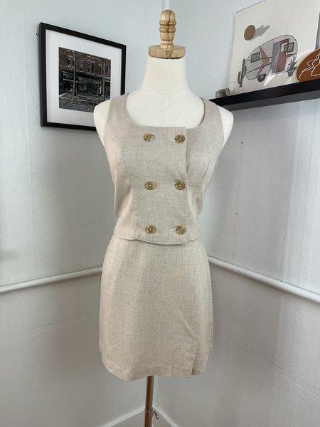 [Pre-Loved] Two Piece Khaki Skirt Set