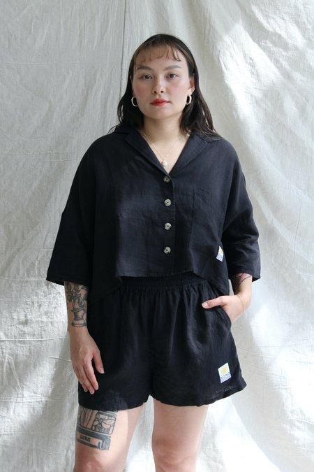 L.F.Markey Basic Linen Top - Black