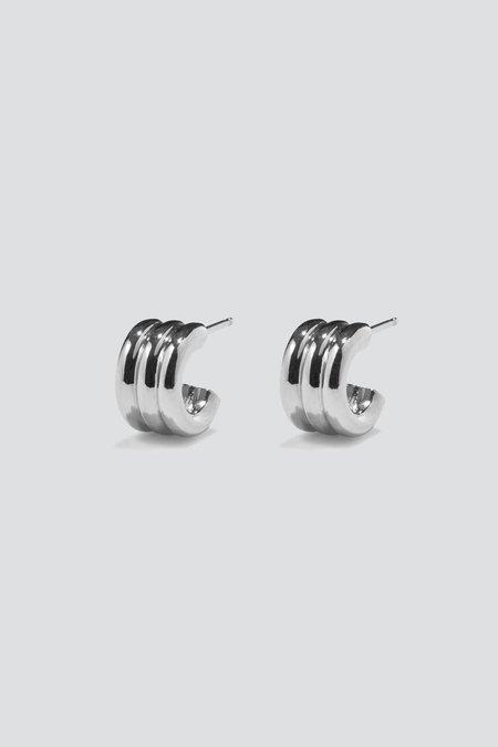 AGMES Mini Triple Ridge Earrings - Sterling Silver