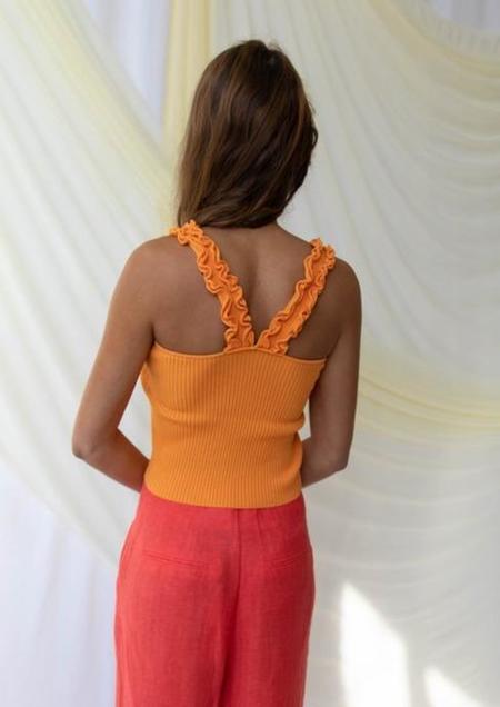 Find Me Now Cora Ruffle Tank - orange