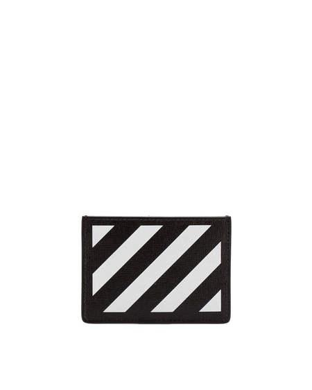 Off-White Diag Leather Card Holder - black