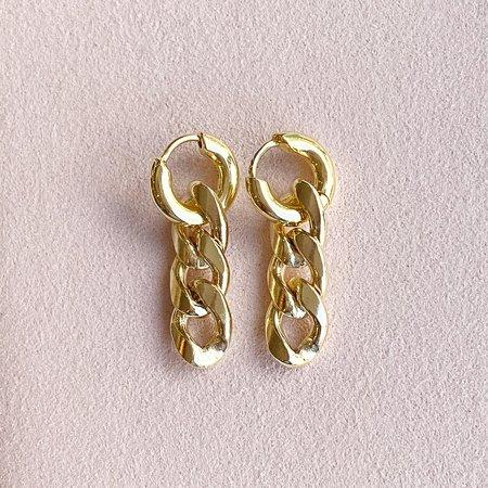 Leah Alexandra Curb Chain Hoops - Gold