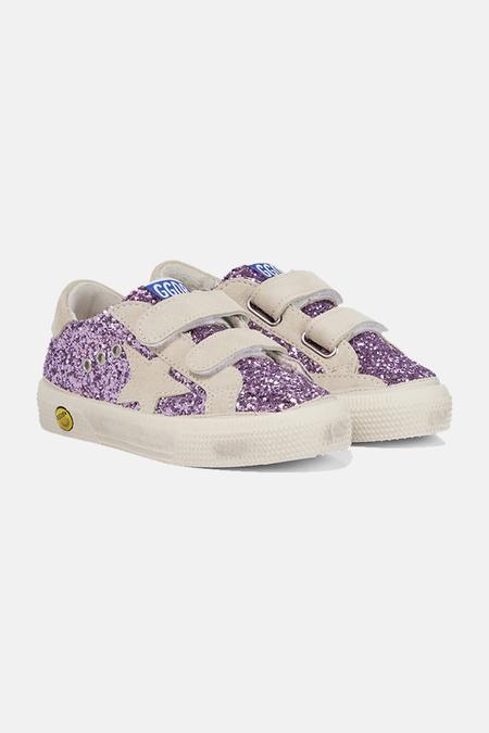 kids Golden Goose May Sneaker Shoes - Lavender Glitter/Beige Star