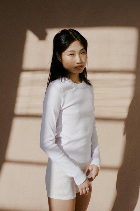 NEUW Jonesy Ribbed Cotton Long Sleeve Top - White