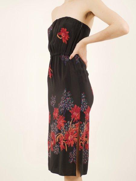 Vintage 70's strapless dress - black/flower details