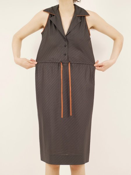 Vintage l. magnin dress - chocolate brown/terracotta piping
