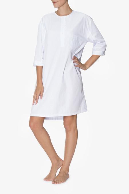 The Sleep Shirt Collarless Sleep Shirt - Thin Blue Stripe