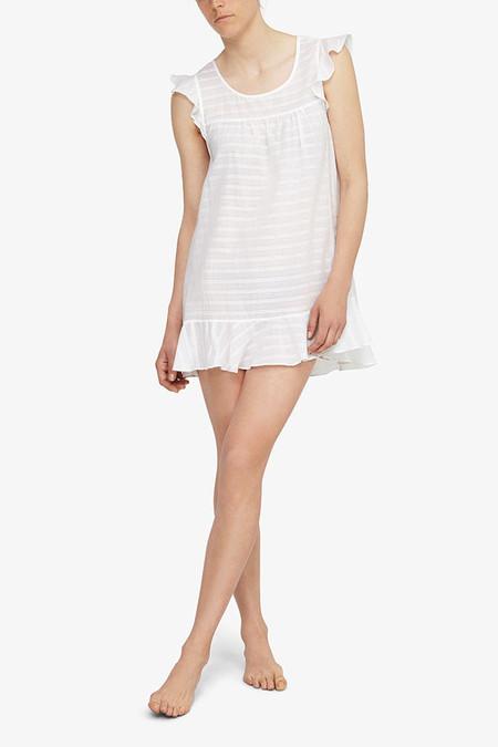 The Sleep Shirt Flounce Tunic White Sheer Stripe