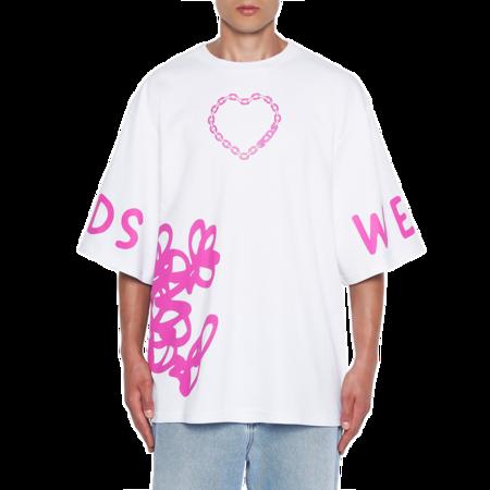 GCDS Mr. Messy Oversized Men MM21M020058-01 T-Shirt - White