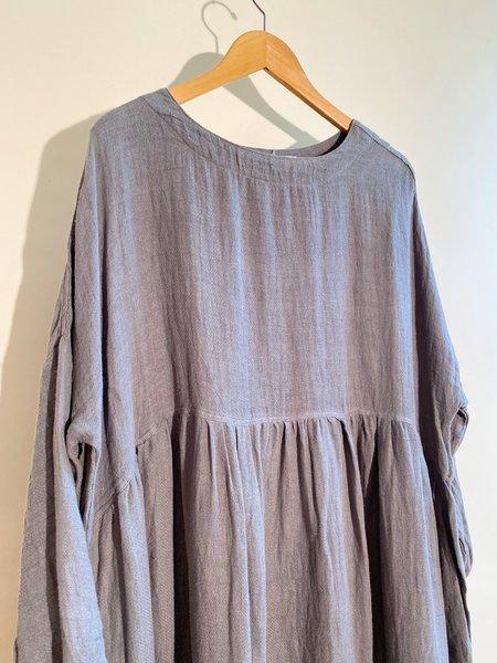 ICHI ANTIQUITES Linen Dobby Azumadaki Dress - GRAY