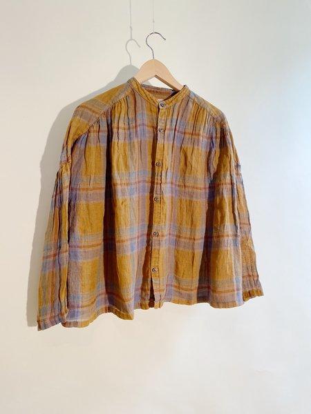 ICHI ANTIQUITES Linen Voile Madras Check Over Dye Shirt